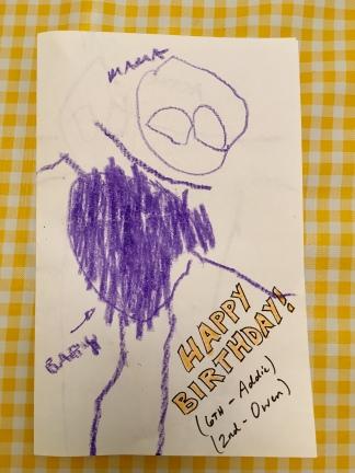 Family portrait birthday card - Addie my artist.